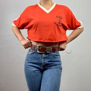 Vintage 70's Camp Ringer Cropped Tee sz XL